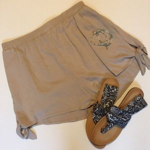 NWOT Lush Tan Flowy Shorts with Tie Sides
